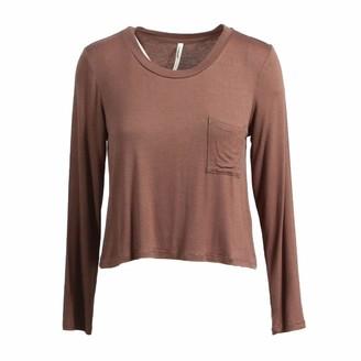 Tresics Women's Trendy Basic Junior Long Sleeve Crew Neck Crop Top T-Shirt