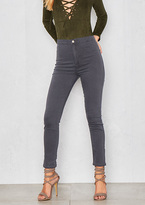 Missy Empire Rubi Grey High Waisted Skinny Jeans