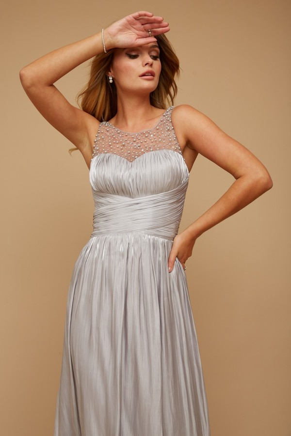 Thumbnail for your product : Little Mistress Grace Bridesmaid Grey Embellishment Sweetheart Maxi Dress