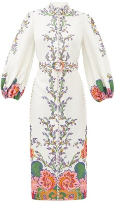 Zimmermann Lovestruck Floral-print Linen Shirt Dress - White Print