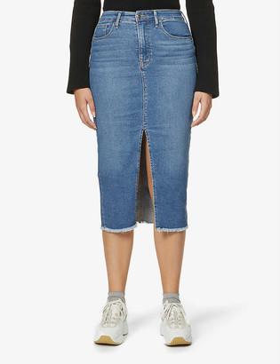 Good American Power high-waist stretch-denim midi skirt