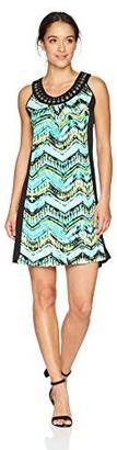 NY Collection Women's PRT Slvless Scoop Nk Midi Dress
