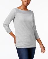 Karen Scott Petite Boat-Neck Cotton Sweater