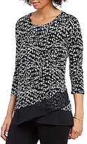Vince Camuto 3/4 Sleeve Asymmetrical Mosaic Glimpses Top