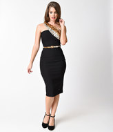 Stop Staring 1950s Style Black & Leopard One Shoulder Luisa Wiggle Dress