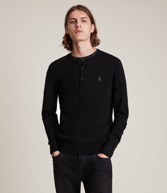 AllSaints Mode Merino Long Sleeve Henley