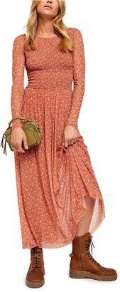 Free People Hello and Goodbye Long Sleeve Floral Maxi Dress
