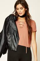 Forever 21 FOREVER 21+ Boxy Lace-Up Front Top