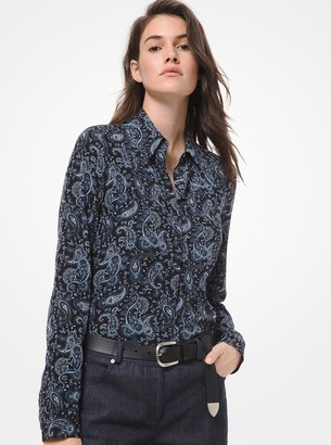 Michael Kors Collection Paisley Silk Crepe de Chine Blouse