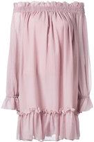 Alexander McQueen off-the-shoulder smocked dress - women - Cotton/Silk - 44