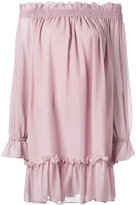 Alexander McQueen off the shoulder smocked tunic dress - women - Silk/Cotton - 44