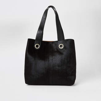 River Island Black leather slouch shopper bag