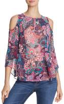 Aqua Cold-Shoulder Floral Paisley Top - 100% Exclusive