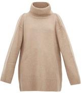KHAITE Tenille Slit-shoulder Cashmere Sweater - Womens - Beige