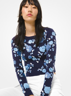 MICHAEL Michael Kors Floral Sequined Supima Cotton Sweater