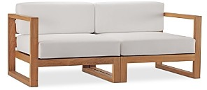 Modway Upland Outdoor Patio Teak Wood 2-Piece Sectional Loveseat
