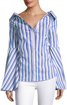 Caroline Constas Persephone Striped Dé;colleté Shirt, Blue