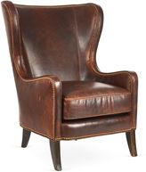 Massoud Furniture Dempsey Wingback Chair, Bourbon Leather