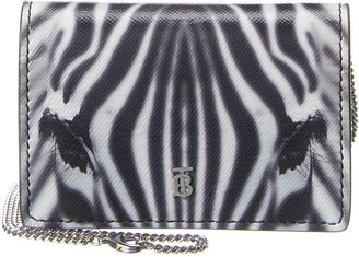 Burberry Zebra Print Leather Wallet On Chain