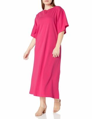 Joan Vass Women's Plus Size Slit Neck Dolman Dress 100 Percent Pima Cotton