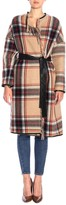 Pinko Riannodare Check Wool Coat With Fringes And Belt