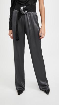 Sally LaPointe Doubleface Satin Elastic Wide Leg Pants