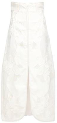 Zimmermann Gauze-paneled Braid-trimmed Embroidered Woven Midi Skirt