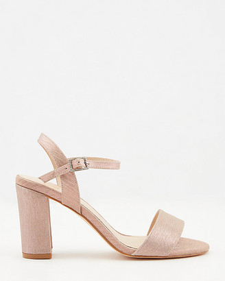 Le Château Metallic Open Toe Block Heel Sandal