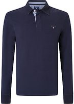Gant Solid Cotton Rugby Shirt, Evening Blue