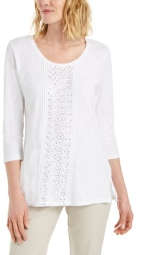 JM Collection Petite Cotton Sequin-Trim Top, Created for Macy's