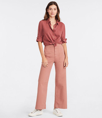 Lou & Grey Brushed Twill High Waist Wide Leg Pants
