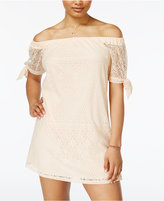 Sequin Hearts Lace Off-The-Shoulder Dress