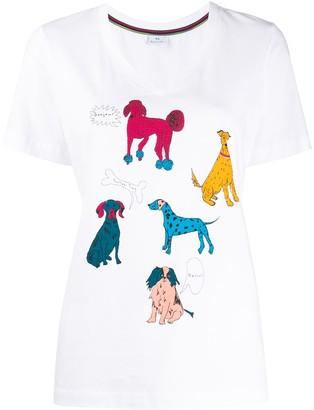 Paul Smith dog print V-neck T-shirt