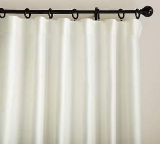 Pottery Barn Dupioni Silk Pole-Pocket Blackout Curtain - Ivory