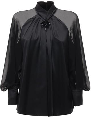 Max Mara Knotted Silk Satin & Chiffon Shirt