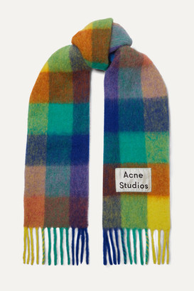 Acne Studios Checked Fringed Knitted Scarf - Blue