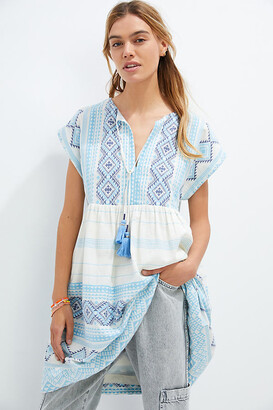 Anthropologie Jacquard Tunic Dress By in Blue Size 1 X