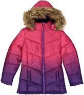 Weatherproof Pink & Purple Dip-Dye Faux Fur-Trim Puffer Coat - Girls