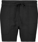 James Perse Woven cotton and linen-blend shorts