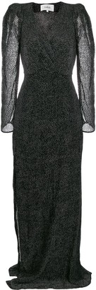 BA&SH Charlie devore velvet dot maxi dress