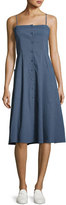Theory Kayleigh Button-Front Midi Sun Dress, Blue