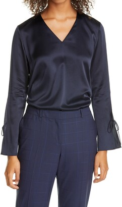 HUGO BOSS Ialore Tie Cuff Silk Blouse