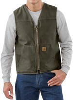 Carhartt Sandstone V-Neck Vest - Sherpa Lined (For Big Men)