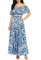 Eliza J Ruffle Off-The-Shoulder Printed Maxi Dress
