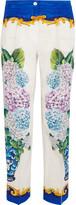 Dolce & Gabbana Printed Silk Crepe De Chine Straight-leg Pants - Blue