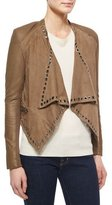Neiman Marcus Grommet-Detail Draped Leather Jacket
