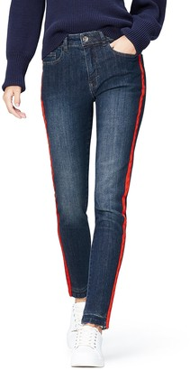 Find. Amazon Brand Women's Straight Mid Rise Stretch Side Stripe Jeans
