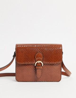 ASOS DESIGN satchel in brown snake