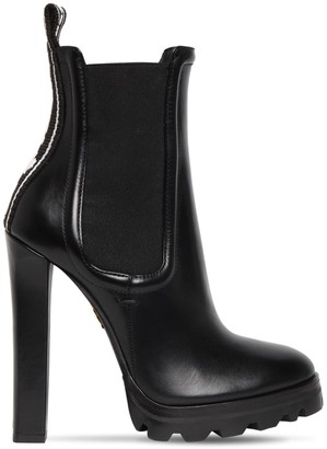 DSQUARED2 120mm Logo Tape Leather Ankle Boots