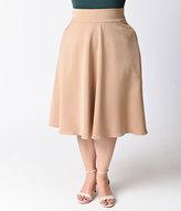 Unique Vintage Plus Size Retro Style Taupe High Waist Vivien Swing Skirt